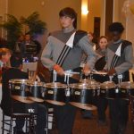 During the Half-Time Show at the Gala, the North Augusta High School Drum line performed. This is a great action shot of them marching into the event playing.
