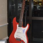 One of the items available in the silent auction was this red and white electric guitar, signed by Taylor Swift.