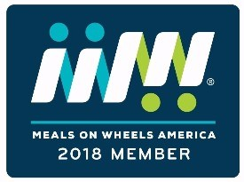 Meals on Wheels America 2018 Member badge - a blue box with Meals on WHeels Logo in white, blue and green.