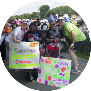 A group of disability rights advocates participating in the March to the Capitol at the NCIL national conference.
