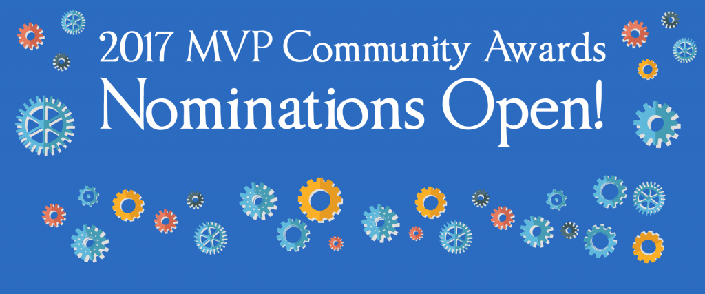 Website slider: blue text box with colorful cogs surrounding white text reading: 2017 MVP Community Awards Nominations Open!