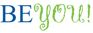 BE YOU! Logo in blue and green text