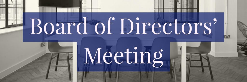 Background image of an empty conference room with table and chairs with a blue text box later with white text - Board of Directors' Meeting