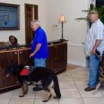 Two men with service dogs stand at the desk counter checking in with the woman who is sitting at the desk.
