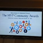 The opening slide for the MVP Community Awards displayed on one of the TV screens at the Luncheon.