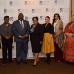 Members of the City of Augusta Government offices including our Guest Speaker Kellie Irving pose in front of the Walton Options Backdrop with host Barclay Bishop and our Executive Director Tiffany Clifford.