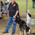 A candid shot of a man in a black polo shirt holding a leash and standing next to his dog that is similar to a German Shepherd.