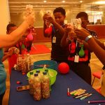 One of the activities was for each camper to make a stress ball. This group of campers and instructor are getting the gel balls into their balloons.