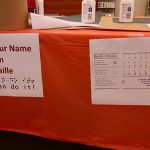 Different activity stations highlighted different disabilities and different technology that can be used to assist them. This station highlights Braille and how to write your own name.
