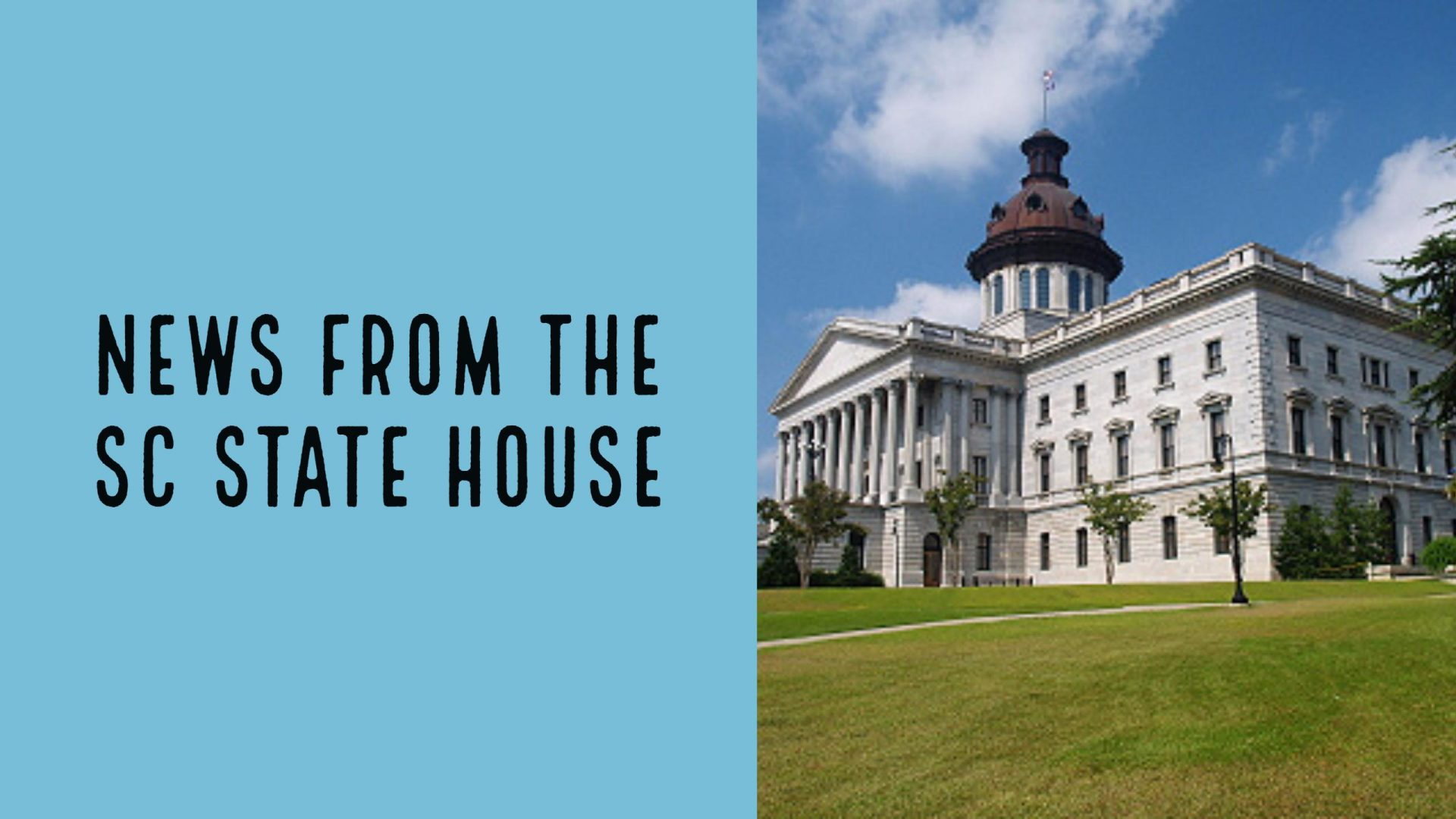 Image of the South Carolina State Capitol on the right with a blue text box to the left with text News from the SC State House
