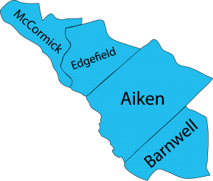 Illustration of the four Central South Carolina counties that Walton Options serves