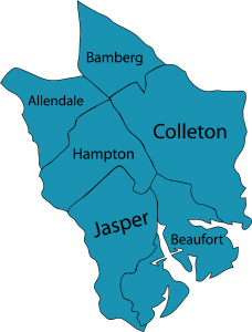 Illustration of the six South Carolina Low Country counties that Walton Options serves
