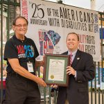 We were honored to have advocate Tom Olin with us during our ADA25 celebrations. He posted with Commissioner Frampton holding the City of Augusta Proclamation before the GreenJackets Game.