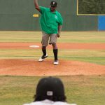 One of Walton Options' very own, Willie Jones, was honored to throw out a first pitch, recognizing the ADA's 25th anniversary. Willie is mid throw from the pitcher's mound. The back of the catcher can be seen at the bottom of the image.