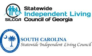 Logos for the Statewide Independent Living Councils for Georgia and South Carolina