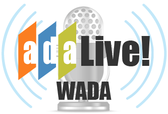Logo for ADA Live! with text over an old fashion radio microphone