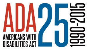 Text Logo in red, black and blue: ADA25, Americans with Disabilities Act, 1990 - 2015