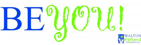 BE YOU! Peer Support Group logo - BE is in dark blue and You is in bright green.