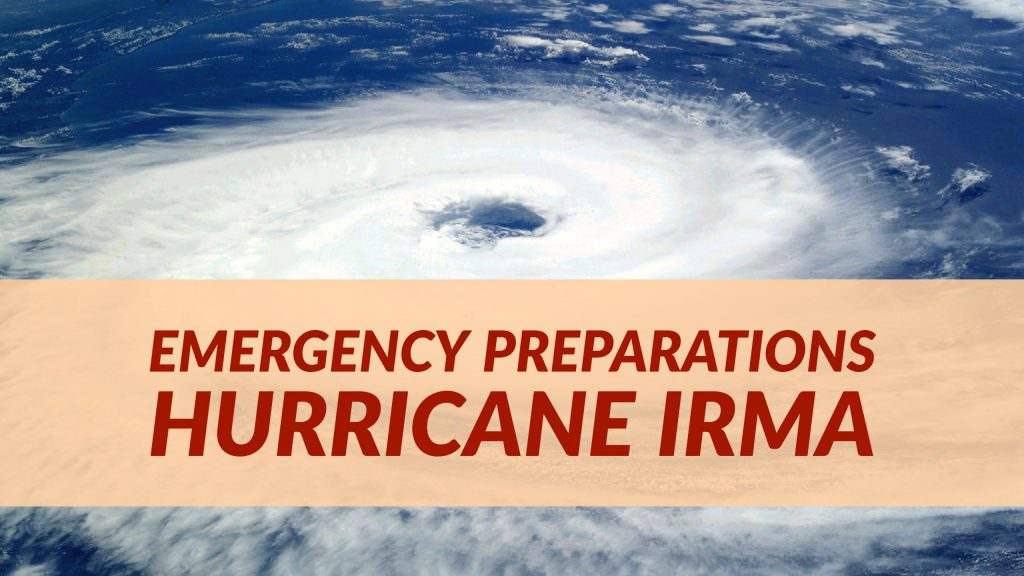 Blog post header with background image of a hurricane storm cloud from a distance. Over the image is a text box with dark red words: Emergency Preparations Hurricane Irma