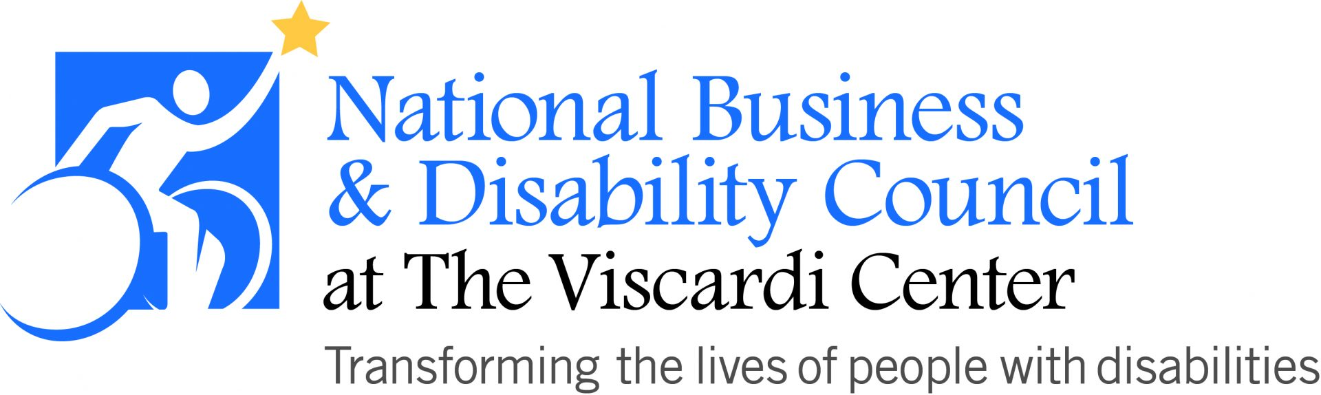 The National Business & Disability Council at The Viscardi Center blue and white logo.