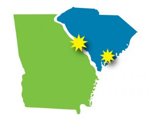 An illustrated map of the state of Georgia in green and South Carolina in blue. There are yellow, multi-pointed stars over the border of the states in the middle to represent the Augusta and North Augusta offices and a star over a lower, coastal region to represent the Walterboro office.