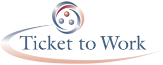 Ticket to Work Logo with text in dark blue